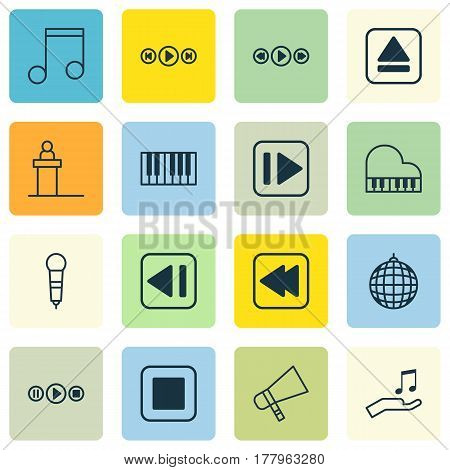 Set Of 16 Audio Icons. Includes Dance Club, Bullhorn, Extract Device And Other Symbols. Beautiful Design Elements.