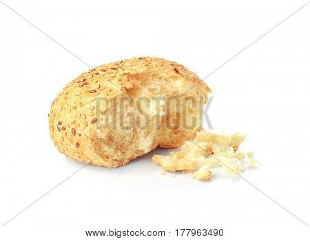 Bread with crumbs on white background