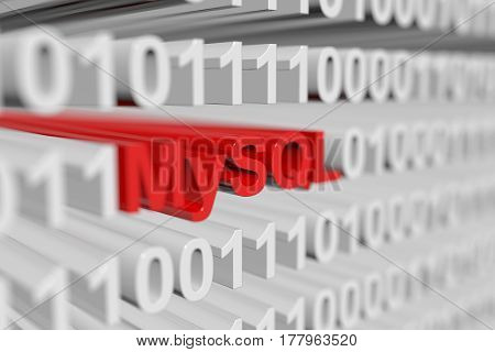 MySQL is represented as a binary code with blurred background 3d illustration