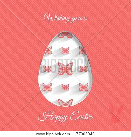 Vector poster of Easter egg with red butterflies pattern rabbit silhouette shadow and text on the red background with line pattern.