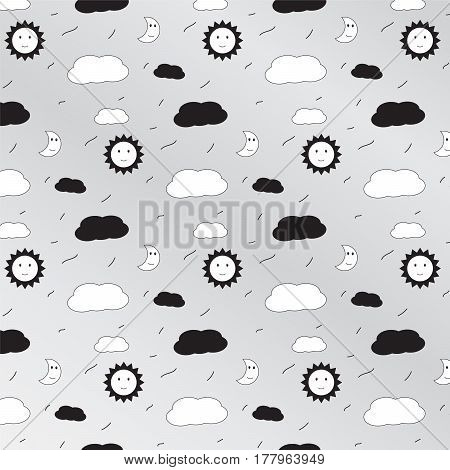 black sun and white moon with cloud pattern background vector illustration image