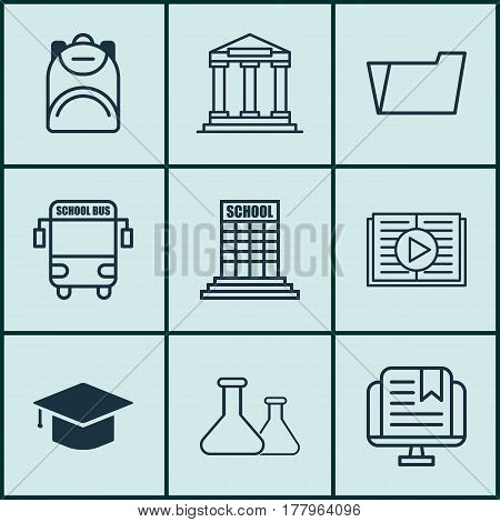 Set Of 9 Education Icons. Includes Academy, College, Taped Book And Other Symbols. Beautiful Design Elements.