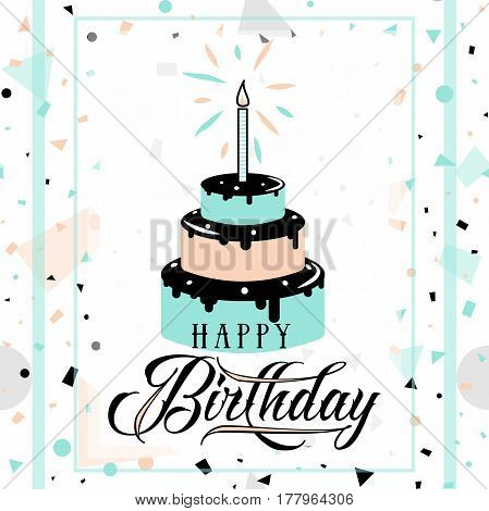Vector illustration of Happy Birthday greeting card with typography lettering text sign, cake, candle on fun geometric hipster background in memphis style