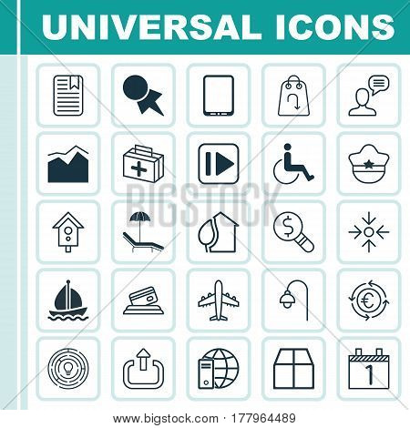 Set Of 25 Universal Editable Icons. Can Be Used For Web, Mobile And App Design. Includes Elements Such As Exit, Accessibility, Business Inspection And More.