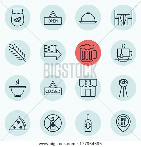 Set Of 16 Meal Icons. Includes Doorway, Closed Placard, Ale And Other Symbols. Beautiful Design Elements.