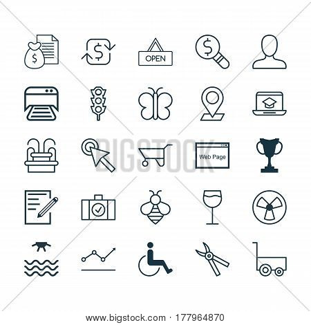 Set Of 25 Universal Editable Icons. Can Be Used For Web, Mobile And App Design. Includes Elements Such As Wheelbarrow, Distance Learning, Board And More.