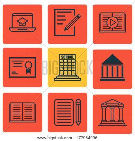 Set Of 9 School Icons. Includes Taped Book, Education Center, Distance Learning And Other Symbols. Beautiful Design Elements.