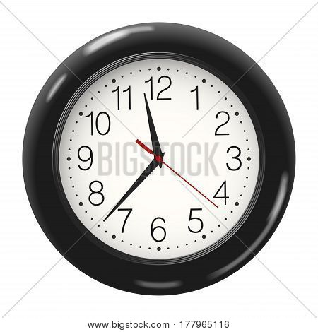 Vector round wall clock in black body isolated on white background