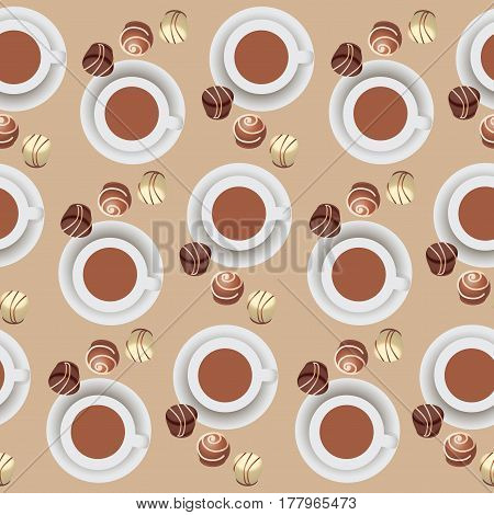 Chocolate candies and hot chocolate.Pattern. Design for candy boxes, textiles, napkins, wrapping paper, hot chocolate. Seamless pattern