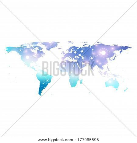 World Map. Geometric graphic background communication. Big data complex with compounds. Perspective backdrop. Digital data visualization. Minimalistic chaotic design, vector illustration