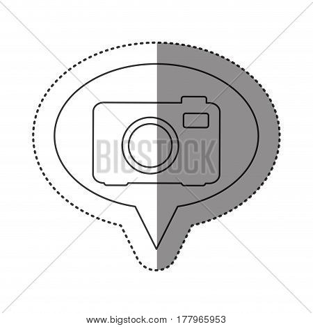 sticker of monochrome contour of oval speech with analog camera vector illustration