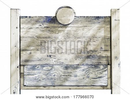 Rustic faded vintage wooden sign with two posts isolated on white space for text