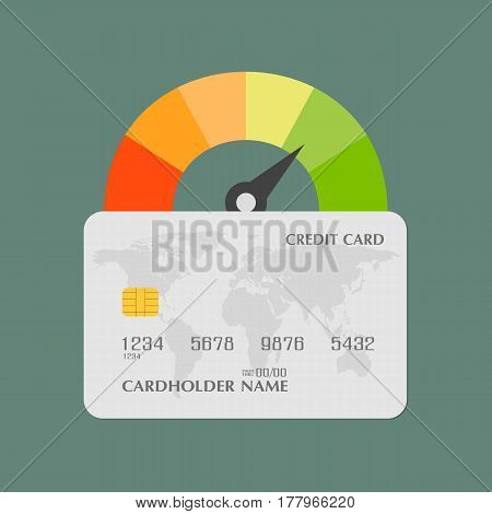 Credit score. Business concept. Speedometer with credit card