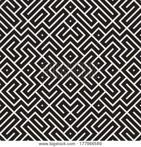 Geometric Ethnic Background With Symmetric Lines Lattice. Stylish Monochrome Texture. Vector Abstract Seamless Pattern.
