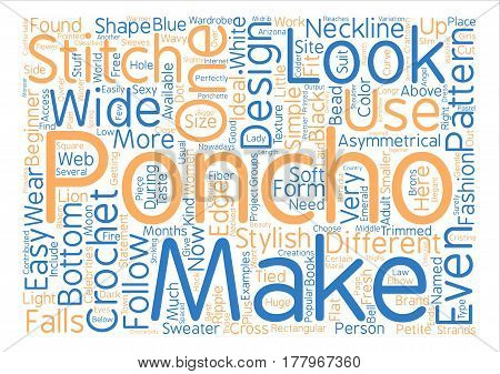 crochet poncho text background word cloud concept