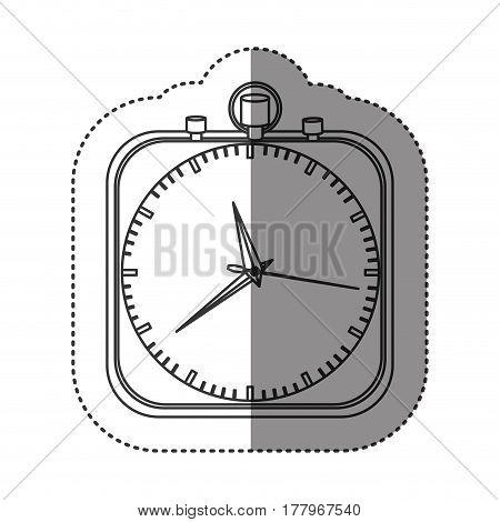 sticker of monochrome stopwatch in shape square vector illustration