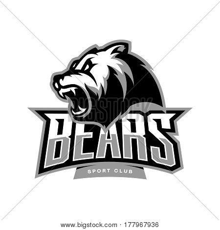 Furious bear sport vector logo concept isolated on white background. Modern predator professional team badge design. Premium quality wild animal t-shirt tee print illustration.