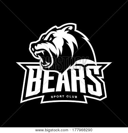 Furious bear sport vector logo concept isolated on dark background. Modern predator professional team badge design. Premium quality wild animal t-shirt tee print illustration.