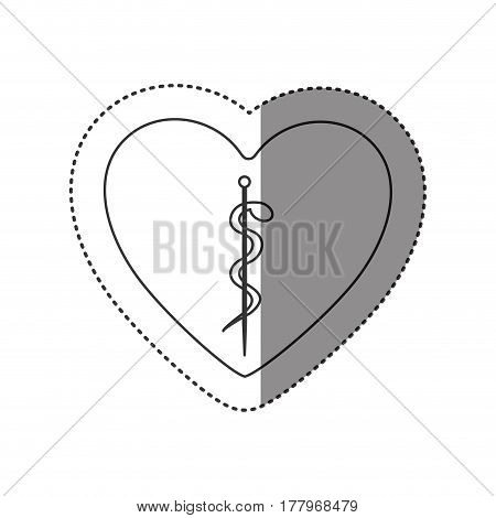 sticker of monochrome silhouette of heart with asclepius snake coiled vector illustration