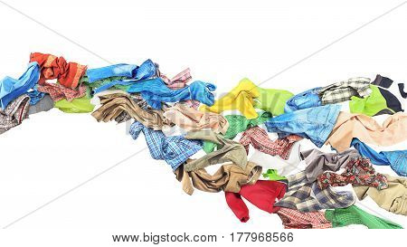 Clothes flow in waveform on white background