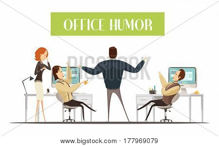Office humor design in cartoon style with laughing men and woman in workplaces vector illustration