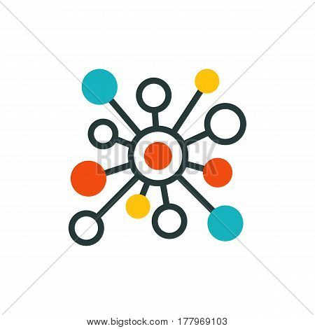 Thin lines connection icon outline of big data center group cloud computing system internet protection password access technical instrument vector illustration. Modern design simple logo concept.