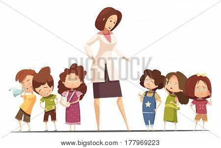 Small group kindergarten children with food poisoning and flu symptoms and nurse taking kids temperature cartoon vector illustration
