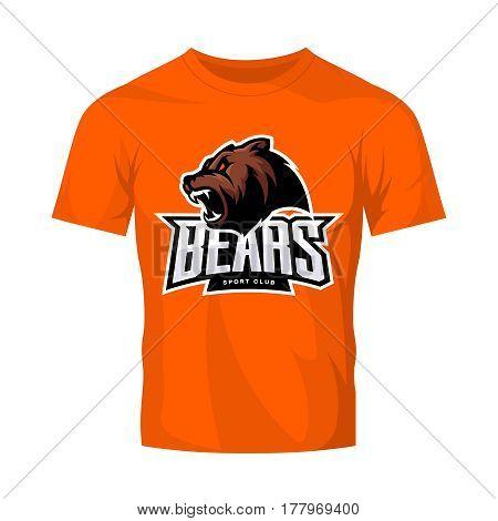 Furious bear sport vector logo concept isolated on orange t-shirt mockup. Modern predator professional team badge design. Premium quality wild animal t-shirt tee print illustration.
