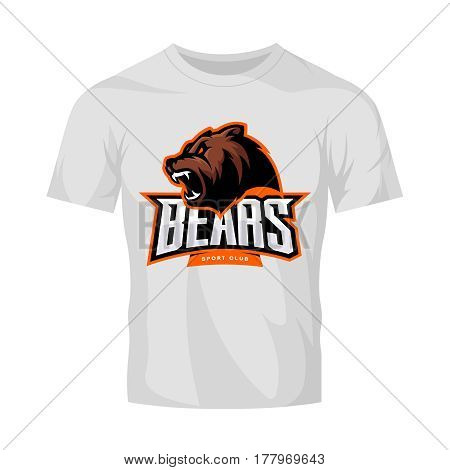 Furious bear sport vector logo concept isolated on white t-shirt mockup. Modern predator professional team badge design. Premium quality wild animal t-shirt tee print illustration.