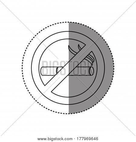 sticker of monochrome silhouette of sign no smoking icon vector illustration