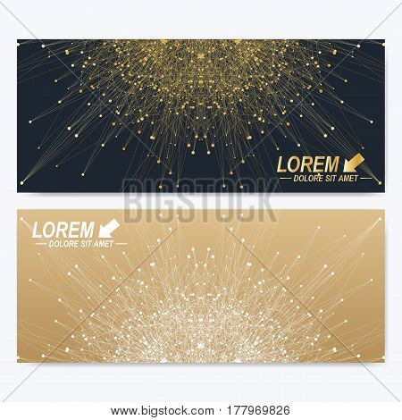 Modern set of ornate horizontal cards in oriental style. Geometric abstract presentation with golden mandala. Template for banner, business card, greeting card. Lines plexus. Card surface