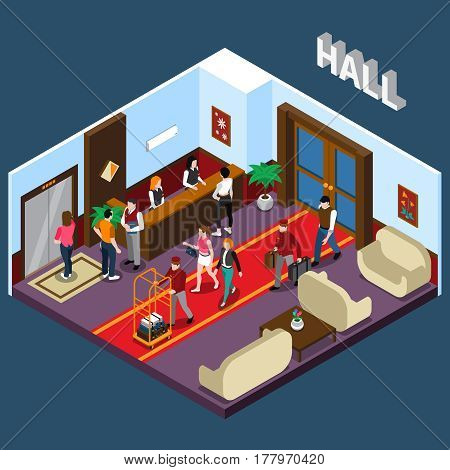 Hotel staff and tourists in hall with red carpet elevator reception and waiting area isometric vector illustration