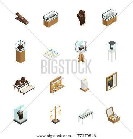 Jewelry decorative icons set with elements of shop interior counters showcases pedestal mannequin isometric isolated vector illustration