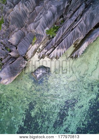 Seychelles Anse Source D'Argent beach , La digue island aerial landscape seascape top view