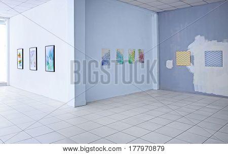 Empty hall of modern art gallery