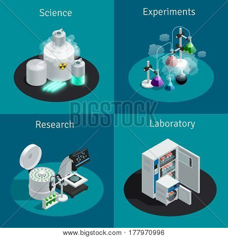 Scientific laboratory 2x2 isometric design concept with substance for experiment and equipment for research vector illustration