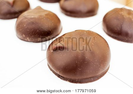Russian Zephyr Marshmallow Covered With Chocolate. Isolated On White Background