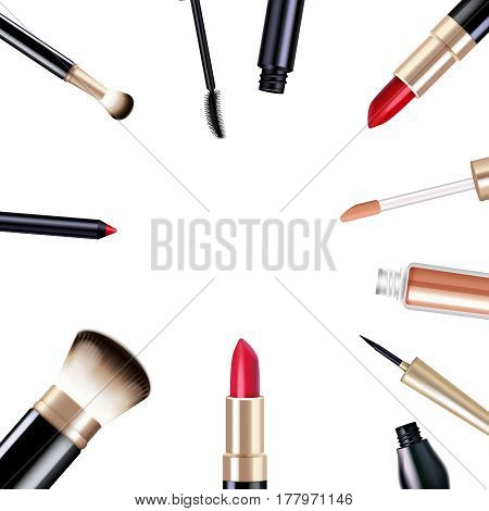 Makeup realistic items set with mascara and lipstick isolated vector illustration