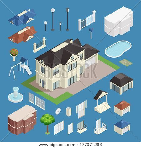 Suburb house isometric set on blue background isolated vector illustration