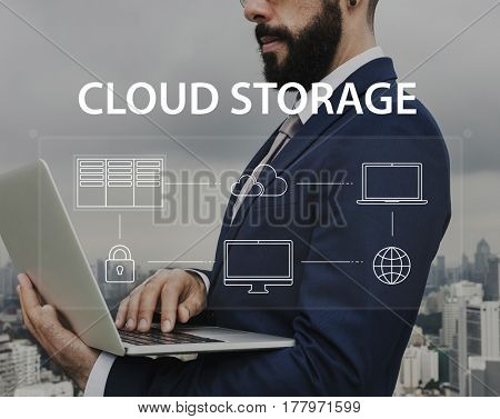 Man using computer cloud network graphic overlay
