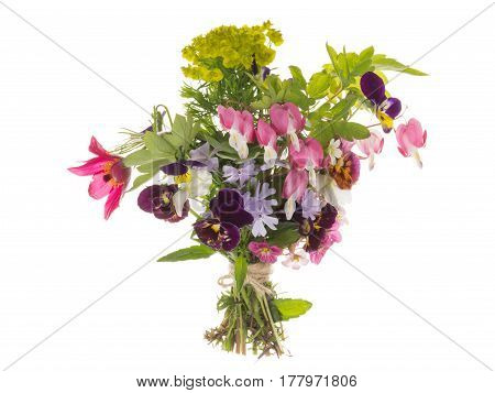 Bright beautiful spring floral bouquet various varieties and flowers tied with string on an isolated white background