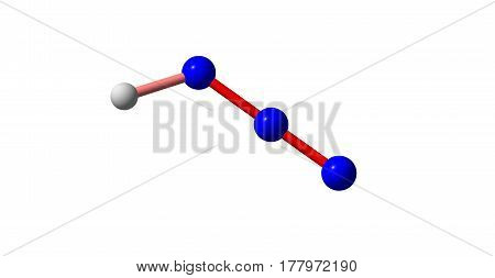 Hydrazoic acid or hydrogen azide or azoimide is a compound with the chemical formula HN3. It is a colorless volatile and explosive liquid at room temperature and pressure. 3d illustration