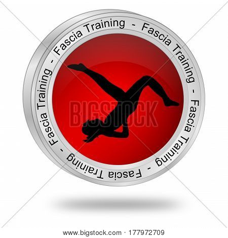 red Fascia Training button - 3D illustration