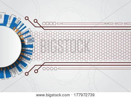 White Abstract Futuristic Technology Circle Vector Illustration Background