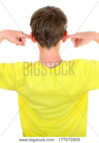 Rear view of the Kid with covered Ears Isolated on the White Background