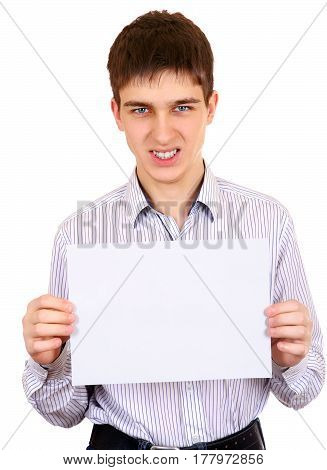 Angry Teenager hold a sheet of Blank Paper Isolated on the White Background