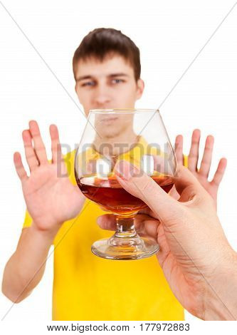Young Man refuse Alcohol Isolated on the White Background