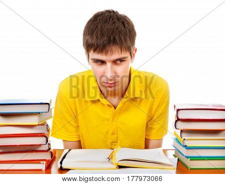 Annoyed Student on the School Desk Isolated on the White Background