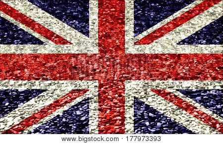 The British flag on a background of pebbles in water Blue white red