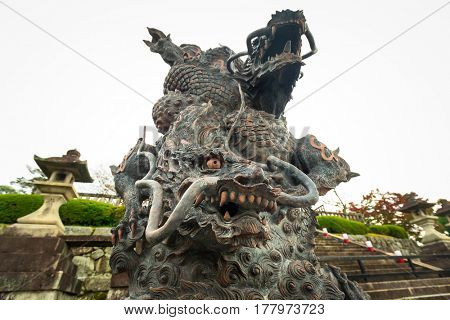 Dragon statue at the temple in Kyoto, Japan